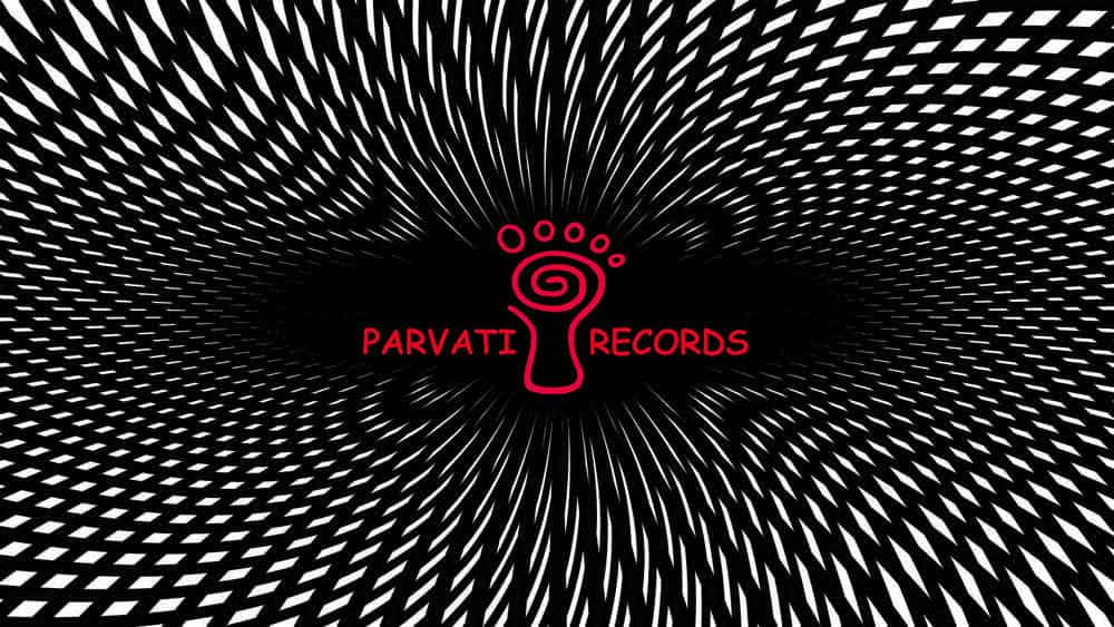 Parvati records logo psychedelic black and white red feet