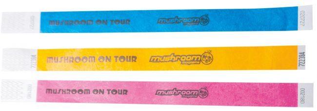 mushroom on tour bändchen gelb pink blau papier